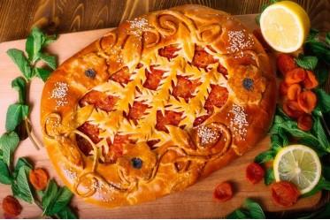 Пирог с лимоном и курагой